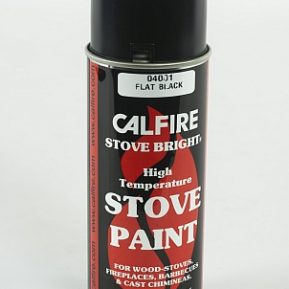Stove Bright high temperature spray paint (400ml). A high temperature (650 Deg C) fast drying paint for use on stoves, flue components Available in black, almond, sky blue, mojave red, emerald green, and sand