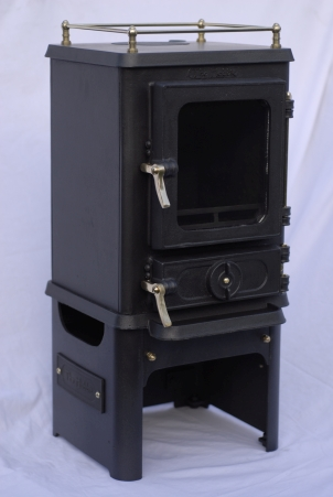 small stove options - hobbit stove with brass gallery rail and stand