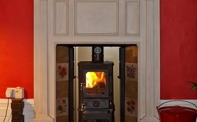 The Hobbit Stove in a fireplace - testimonial