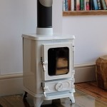 small stove on a glass hearth