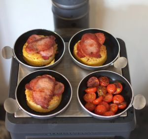 tiny woodstove breakfast