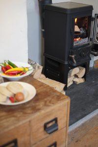 tiny woodstove fire