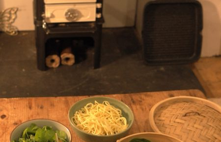 cooking on a tiny stove