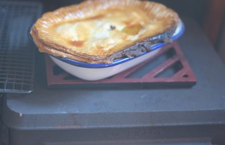 small wood cookstove baking pies