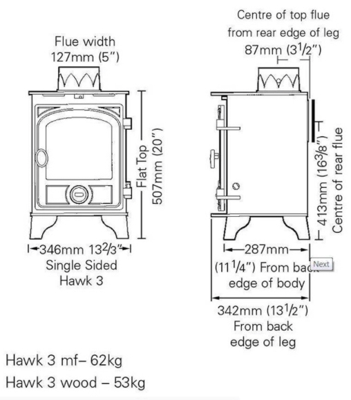 Hunter Hawk stove dimensions