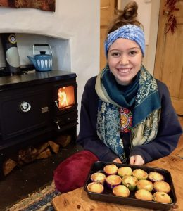 cooking on a small wood stove