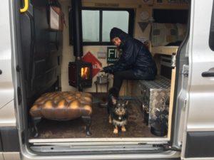 tiny wood stove in a van