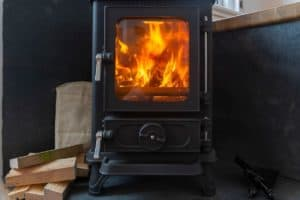 Small Log Burner in a Shepherd's Hut