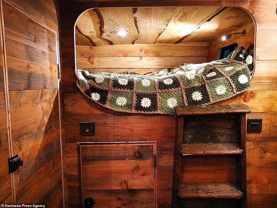 Small Stove in a Log Cabin Horse Box Conversion