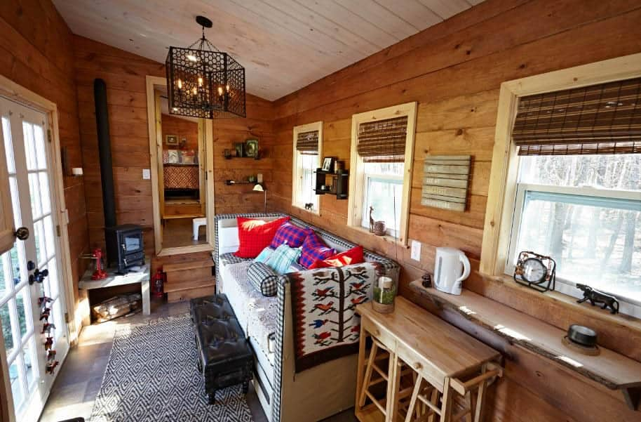 Small Stove Installed in a Mobile Home Lounge