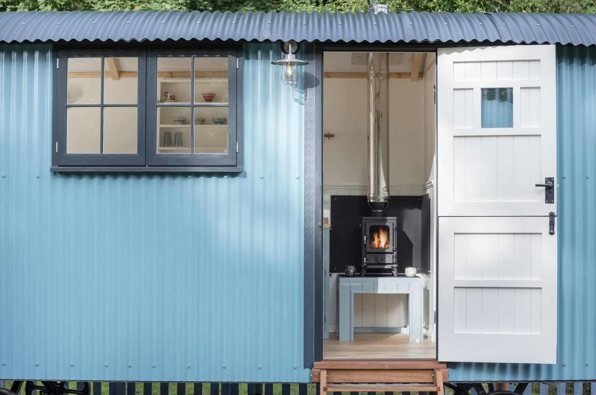 Small Wood Stove in a Shepherd's Hut