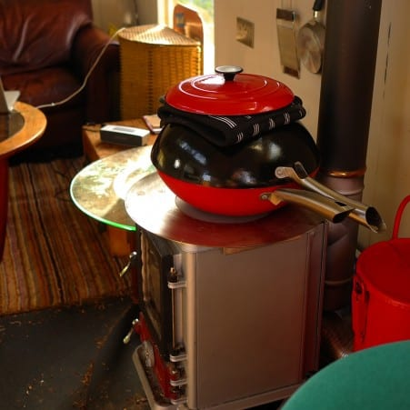 cooking on a wood stove