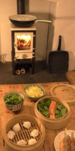 Cooking Salmon on a Small Wood Burning Stove