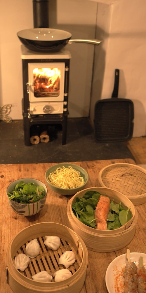 Cooking up a new year feast on the wood stove