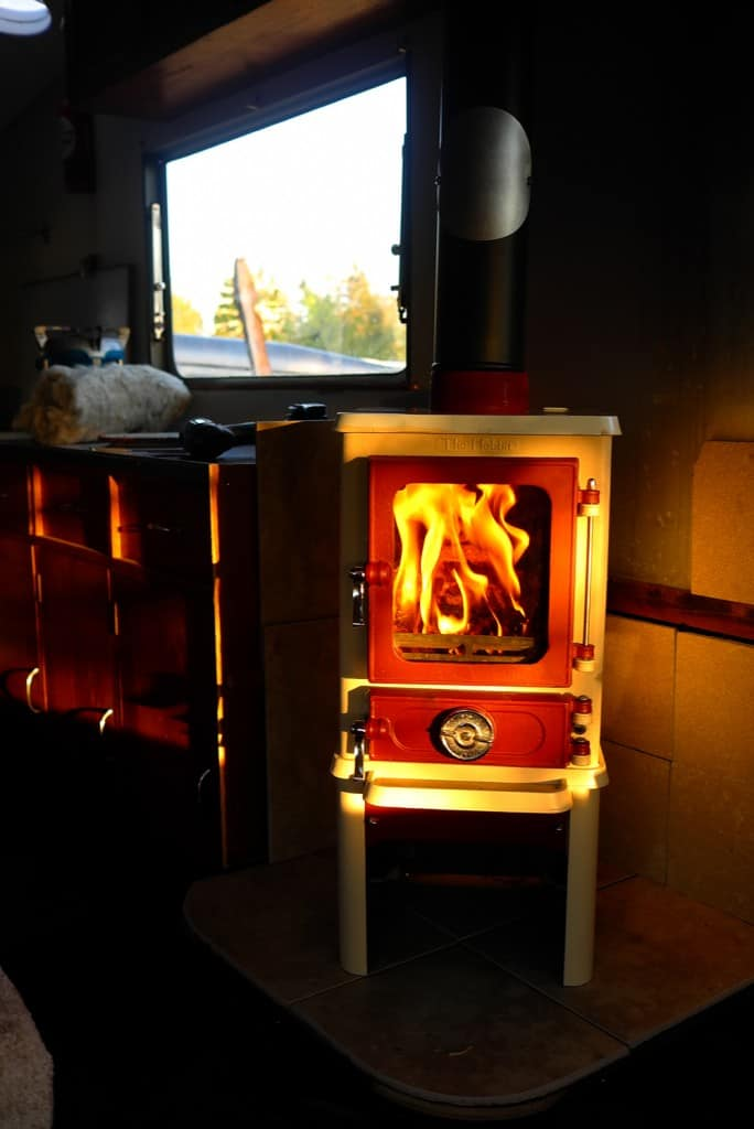 installing a woodstove in a caravan