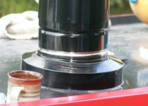 Small Stove Installed in a Canal Boat