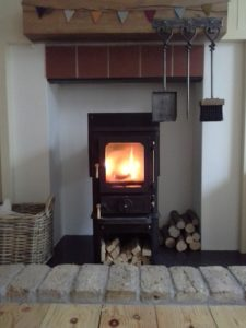 small wood burning stove in a small fireplace