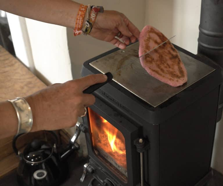 Cooking on the top of your tiny wood stove.- Beetroot bread pitta's