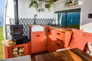 Small Wood Burning Stove In a Campervan 2