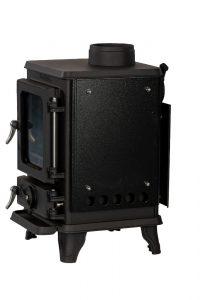 Small wood burning stove with heatshields 3